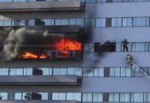 This image from video by Jenna Fabian shows a Los Angeles Fire Department firefighter on a ladder rescuing a man who had climbed out on the side of a 25-story high-rise apartment, escaping flames from a burning apartment balcony, after a fire broke out on a sixth-floor balcony and sent choking smoke billowing through the upper levels in West Los Angeles Wednesday, Jan. 29, 2020. (Courtesy of Jenna Fabian via AP)